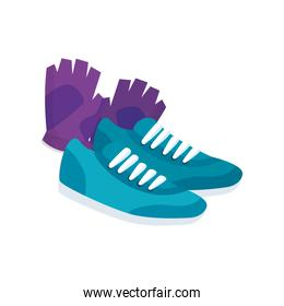 fingerless glove with shoes of sport