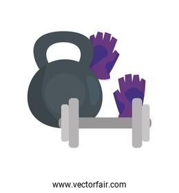 set of dumbbells with fingerless gloves isolated icon