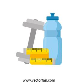 dumbbell with bottle water and tape measure