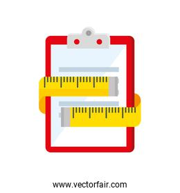 measuring tape and clipboard with paper document