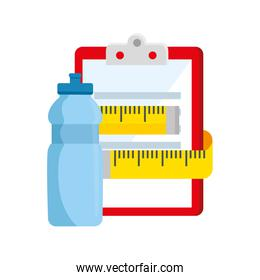 measuring tape with clipboard and bottle water