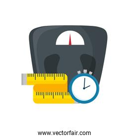 scale measure weight with measuring tape and chronometer time