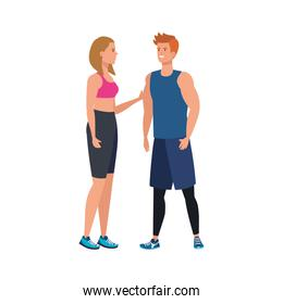 young couple athlete avatar character