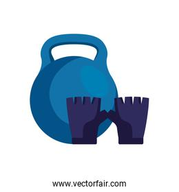 fingerless glove sport with dumbbell isolated icon