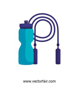 rope jump with bottle water isolated icon