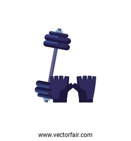 fingerless glove with dumbbell isolated icon