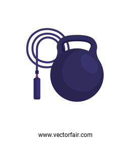 rope jump with dumbbell isolated icon