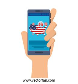 hand using medicine online in smartphone for covid 19 in usa