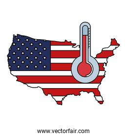 map of usa with thermometer isolated icon