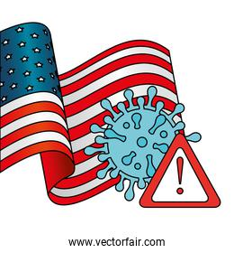 usa flag with particle covid 19