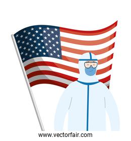 usa flag and person with biohazard suit
