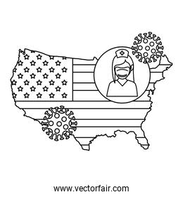 map of usa with nurse avatar and particles covid 19