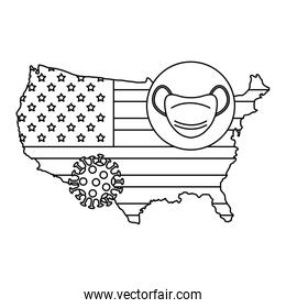 map of usa with face mask in pin location line style