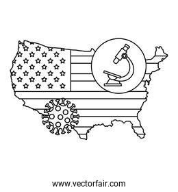 map of usa with microscope and particle covid 19