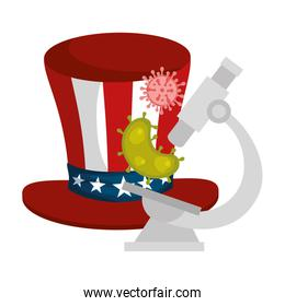 top hat traditional of usa with particles covid 19 and microscope