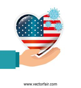 hand and usa flag in heart shape with particles covid 19