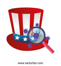 top hat traditional of usa with particles covid 19 and magnifying glass