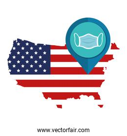 map of usa with face mask in pin location