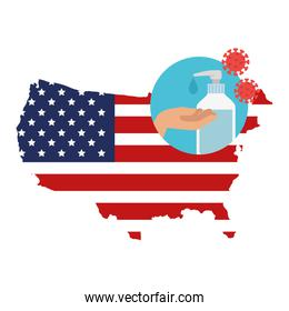 map of usa with hands sanitizer for prevention covid 19