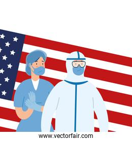 usa flag and person with biohazard suit and female paramedic