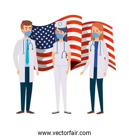 doctors with nurse using face mask and flag usa