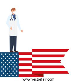 doctor male with face mask and flag usa