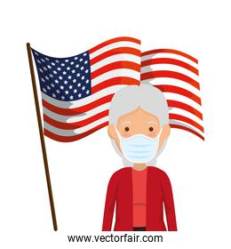 usa flag with old woman using face mask