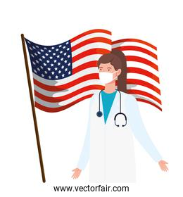 doctor female using face mask with US  flag