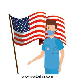 male paramedic with face mask and flag usa