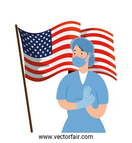 female paramedic with face mask and flag usa