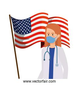 doctor female using face mask with flag usa