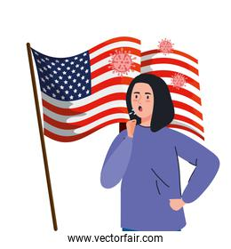 usa flag with young woman sick of covid 19