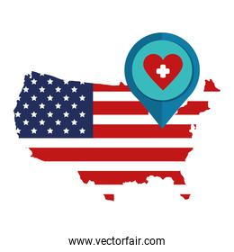 map of usa with symbol heart health