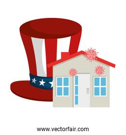 top hat traditional of usa and facade house with particles covid 19