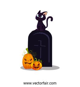 halloween tomb with cat and pumpkins