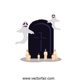 halloween ghosts with tomb and candles