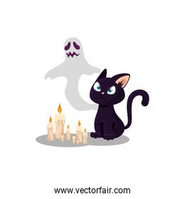 halloween ghost with cat and candles