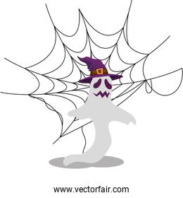 halloween ghost with witch hat and spider web