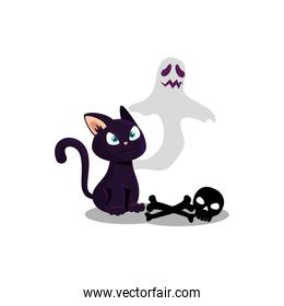 halloween ghost with cat and skull
