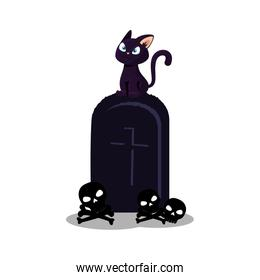 halloween tomb with cat and skulls