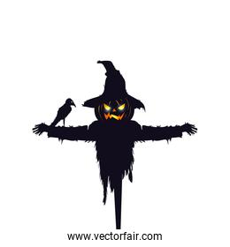 scarecrow halloween with raven isolated icon