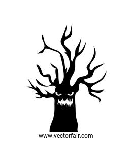 haunted dry tree isolated icon