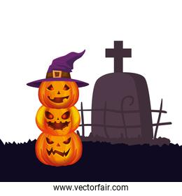 halloween pumpkins with hat witch and tomb