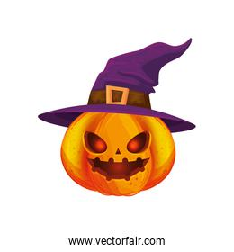 halloween pumpkin with hat witch isolated icon