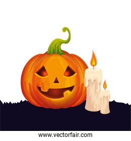halloween pumpkin with candles isolated icon