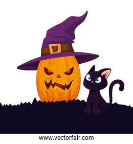 halloween pumpkin with cat and witch hat