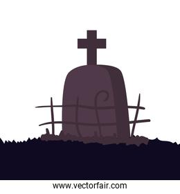 halloween tomb of cemetery isolated icon
