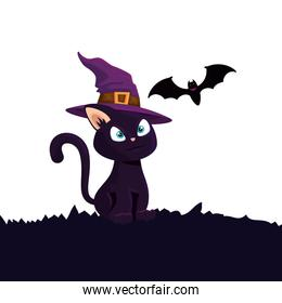 halloween cat with hat witch and bat flying