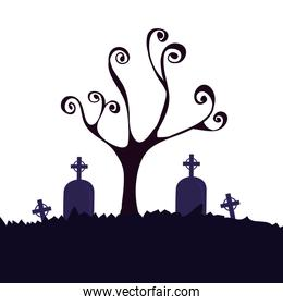 halloween dry tree with tombs in cemetery