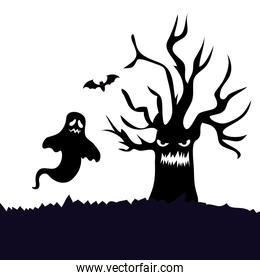 haunted dry tree with ghost isolated icon